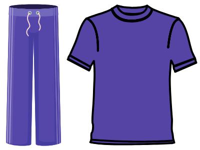 Image of purple sweats and shirt