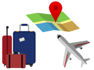 image of a map, airplane, and suitcases