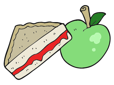 image of an apple and a sandwich