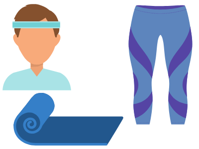 image of a mat, leggings, and a headband