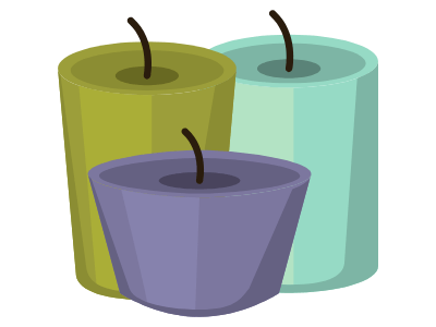 image of three candles