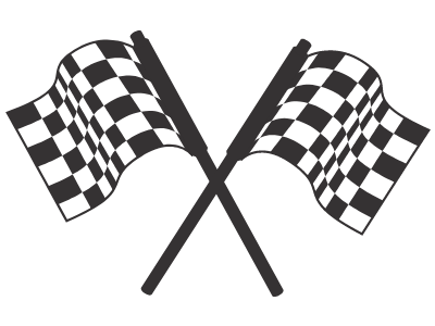 image of two checkered finish line flags