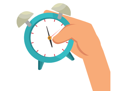 image of a hand holding an alarm clock