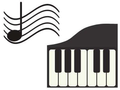 image of a keyboard and a music note on a staff