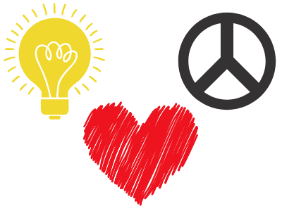 image of a light bulb, peace sign, and a heart