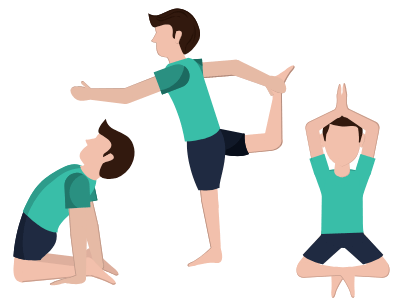 image of men holding different yoga poses