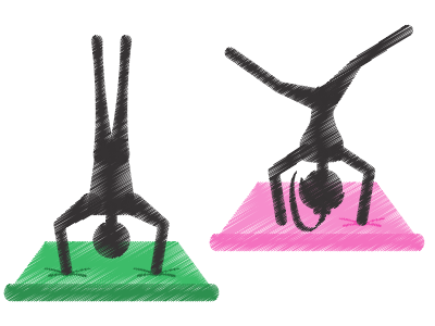 image of two people doing headstands