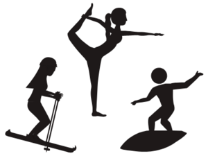 image of a skier, surfer, and a yogi