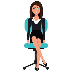 image of a woman in an office chair