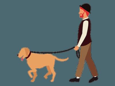 image of a man walking a dog